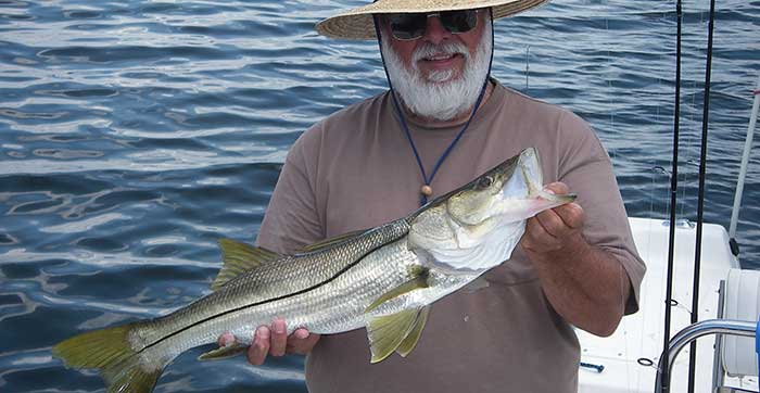 tampa inshore fishing charters client with snook